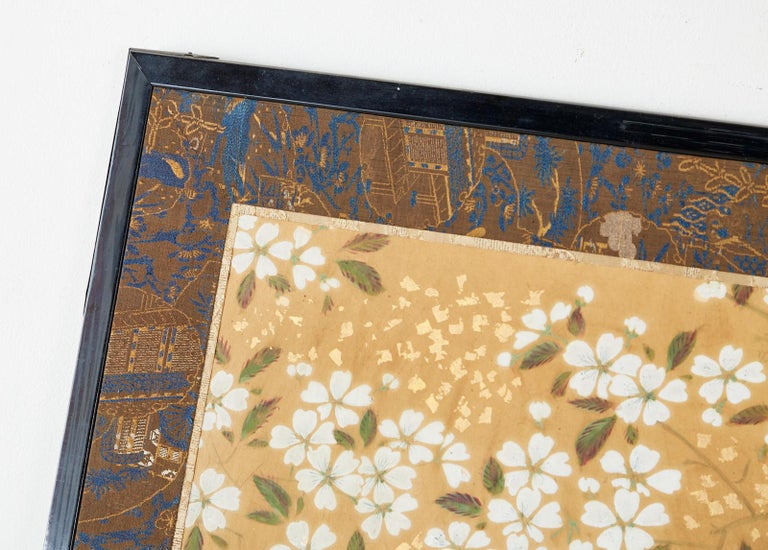 Japanese Two-Panel Showa Screen Birds under Cherry Tree For Sale 3
