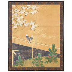 Japanese Two-Panel Showa Screen Birds under Cherry Tree