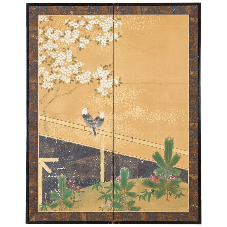 Japanese Two-Panel Showa Screen Birds under Cherry Tree For Sale