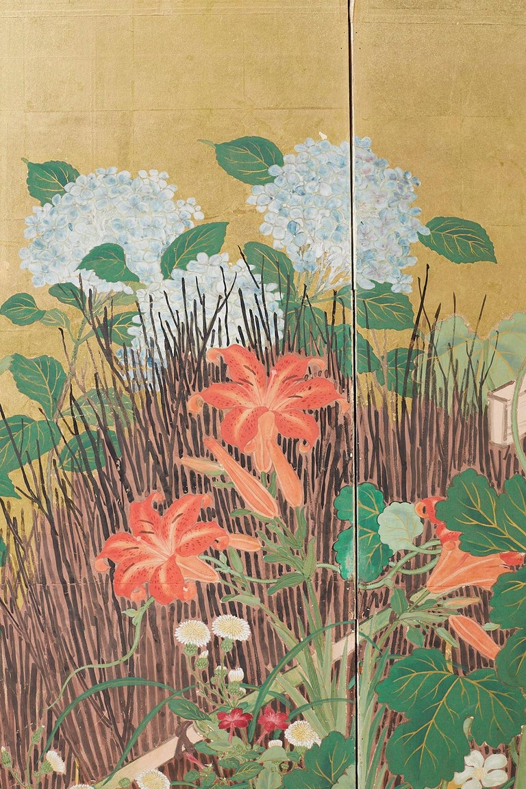Japanese Two-Panel Showa Screen of Two Roosters For Sale 4