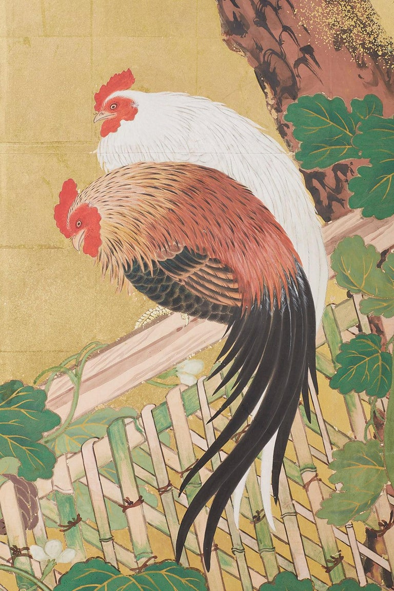 Japanese Two-Panel Showa Screen of Two Roosters For Sale 7
