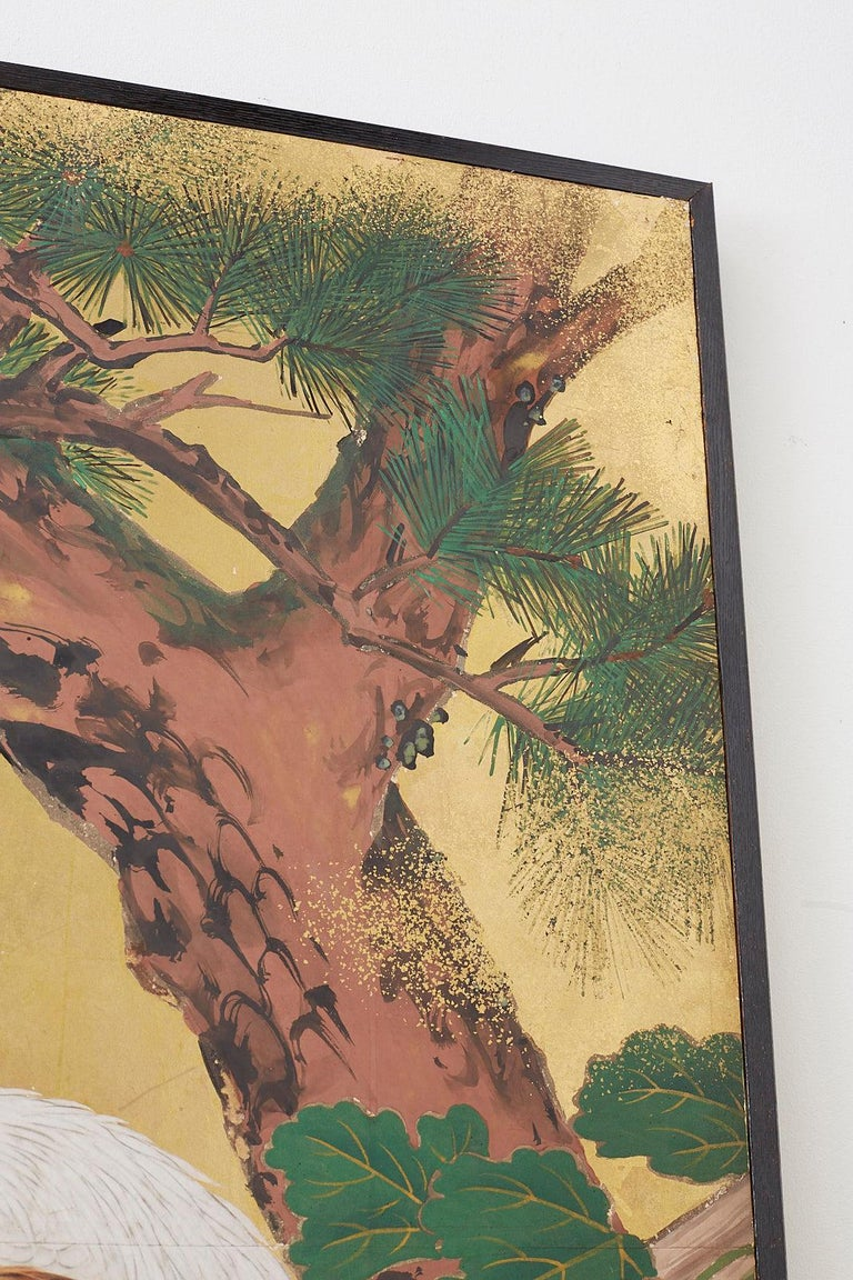 Japanese Two-Panel Showa Screen of Two Roosters For Sale 10