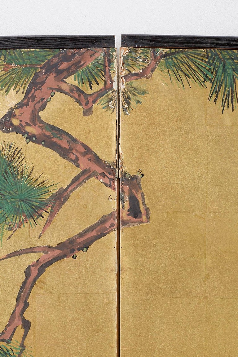 Japanese Two-Panel Showa Screen of Two Roosters For Sale 11