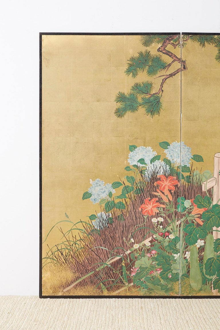 Lacquered Japanese Two-Panel Showa Screen of Two Roosters For Sale