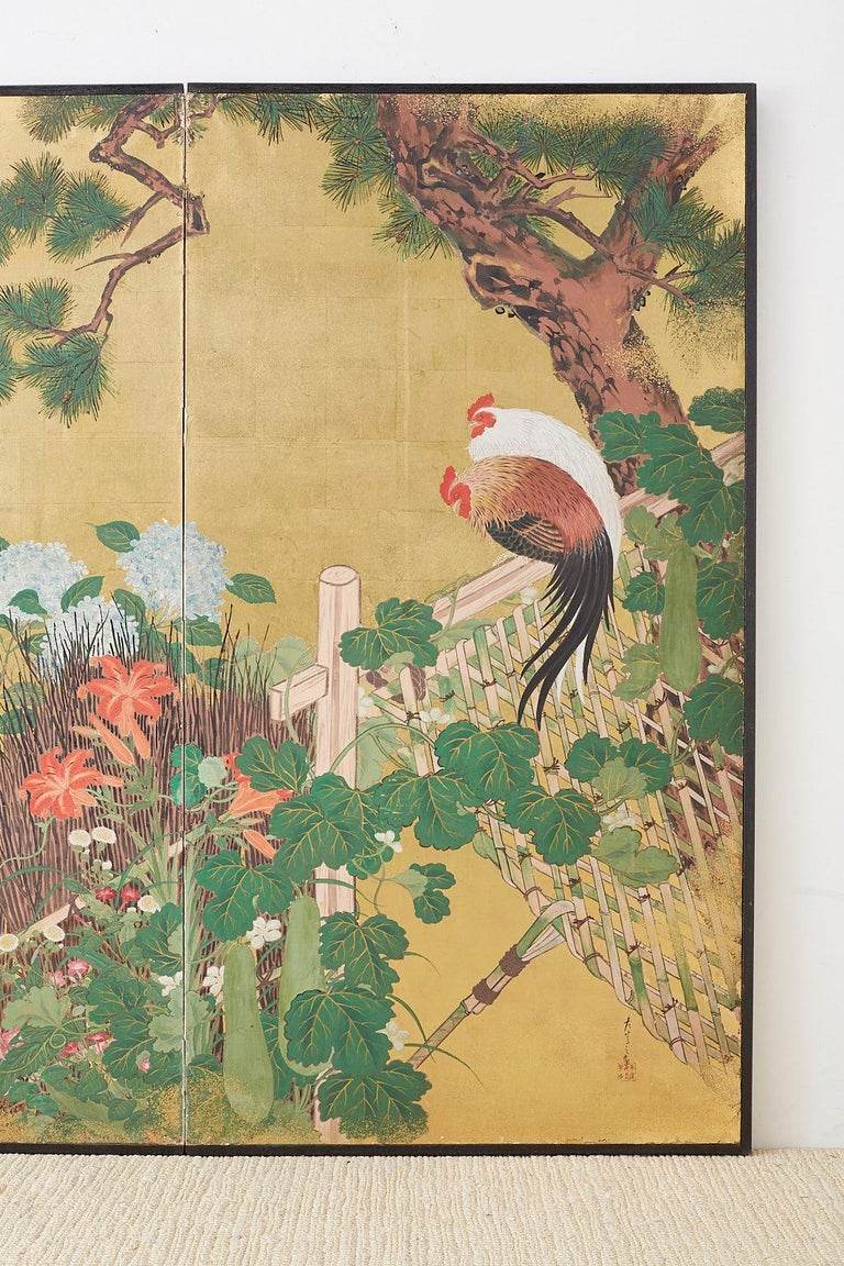 Japanese Two-Panel Showa Screen of Two Roosters In Good Condition For Sale In Oakland, CA