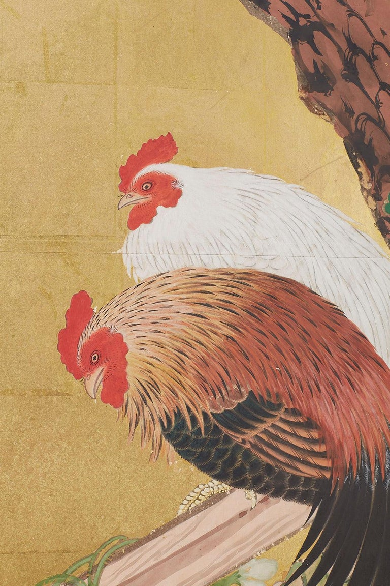 20th Century Japanese Two-Panel Showa Screen of Two Roosters For Sale