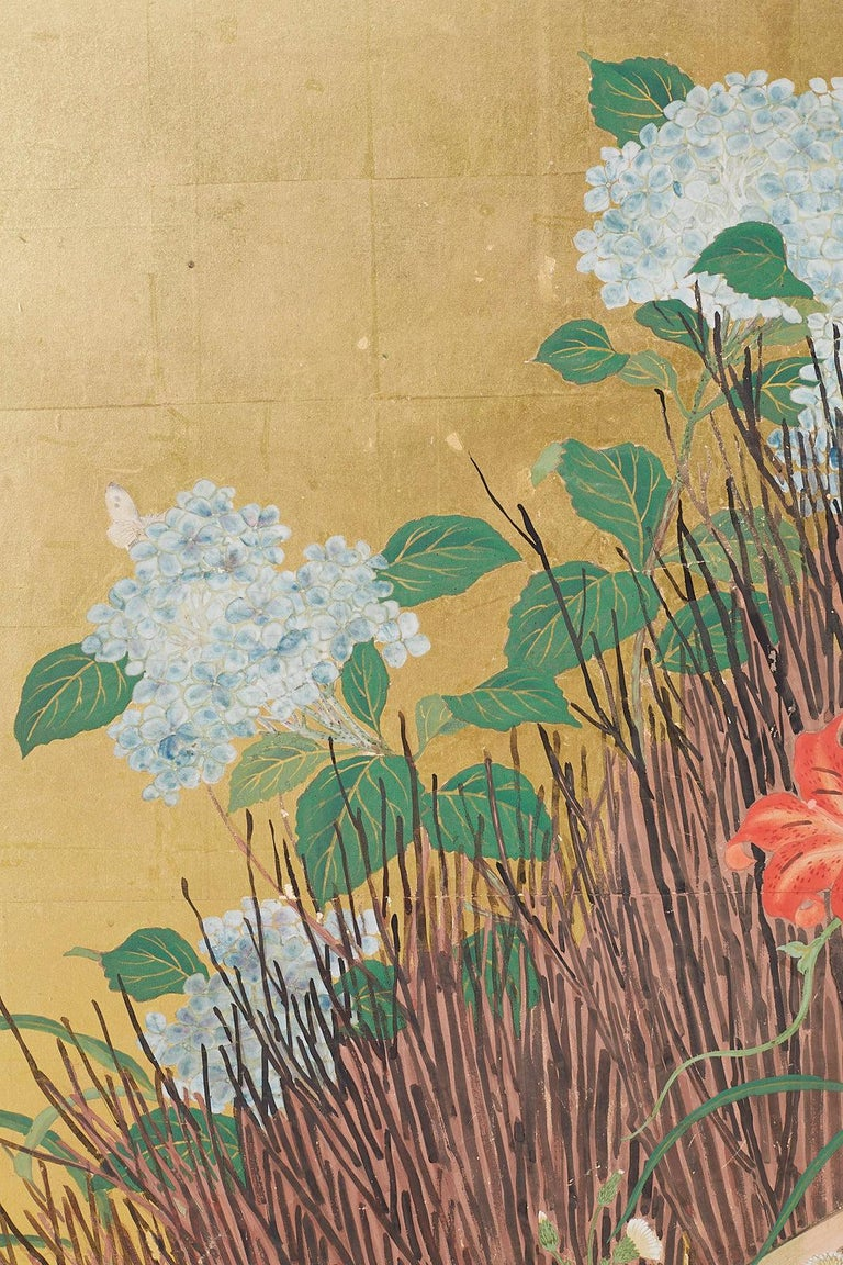 Linen Japanese Two-Panel Showa Screen of Two Roosters For Sale
