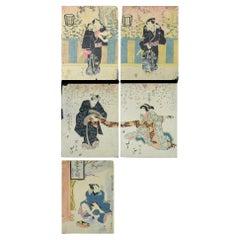 Japanese Ukiyo-e Woodblock 'set of 5' by Utagawa Kuniyasu 歌川 国安 , 1794–1832