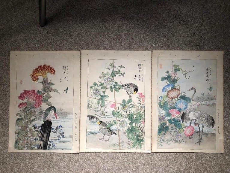 From our recent Japanese Acquisitions Travels, #8  A unique and scarce set of three (3) large format