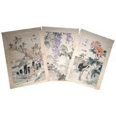"Japanese Unique ""Birds & Flowers"" Hand Paintings Set Three Kono Bairei, 1899"