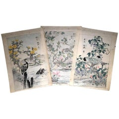 "Japanese Unique ""Birds & Flowers"" Hand Paintings Set Three Kono Barei, 1899"
