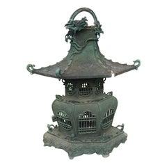 "Japanese Unique Hand Cast Bronze ""Dragon"" Lantern"