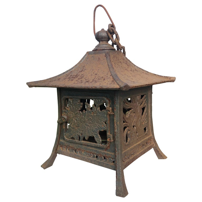 """Japanese Unique Old Hand Cast Bronze """"Flowers, Bamboo, And Grasses"""" Lantern"""