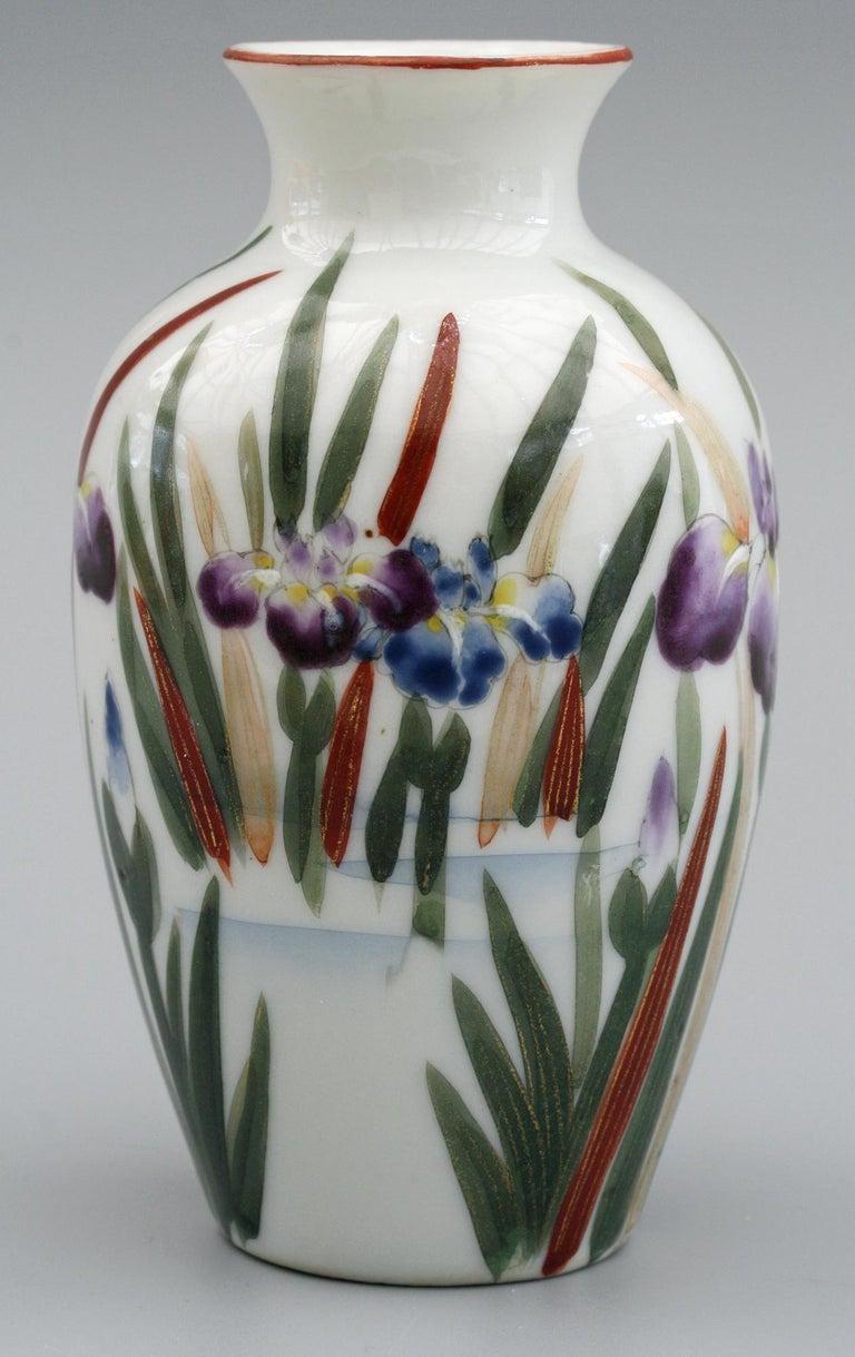 Taisho Japanese Vintage Fukagawa Arita Iris & Bird Painted Porcelain Vase