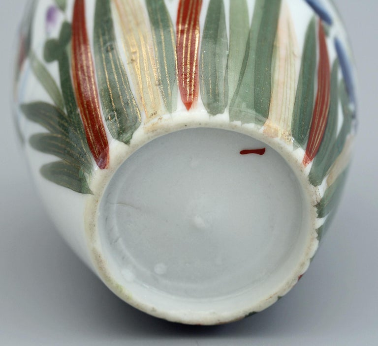 Mid-20th Century Japanese Vintage Fukagawa Arita Iris & Bird Painted Porcelain Vase