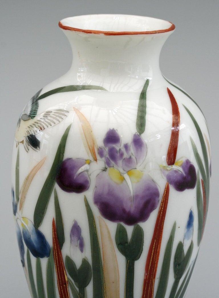 Japanese Vintage Fukagawa Arita Iris & Bird Painted Porcelain Vase 3