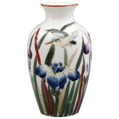 Japanese Vintage Fukagawa Arita Iris & Bird Painted Porcelain Vase