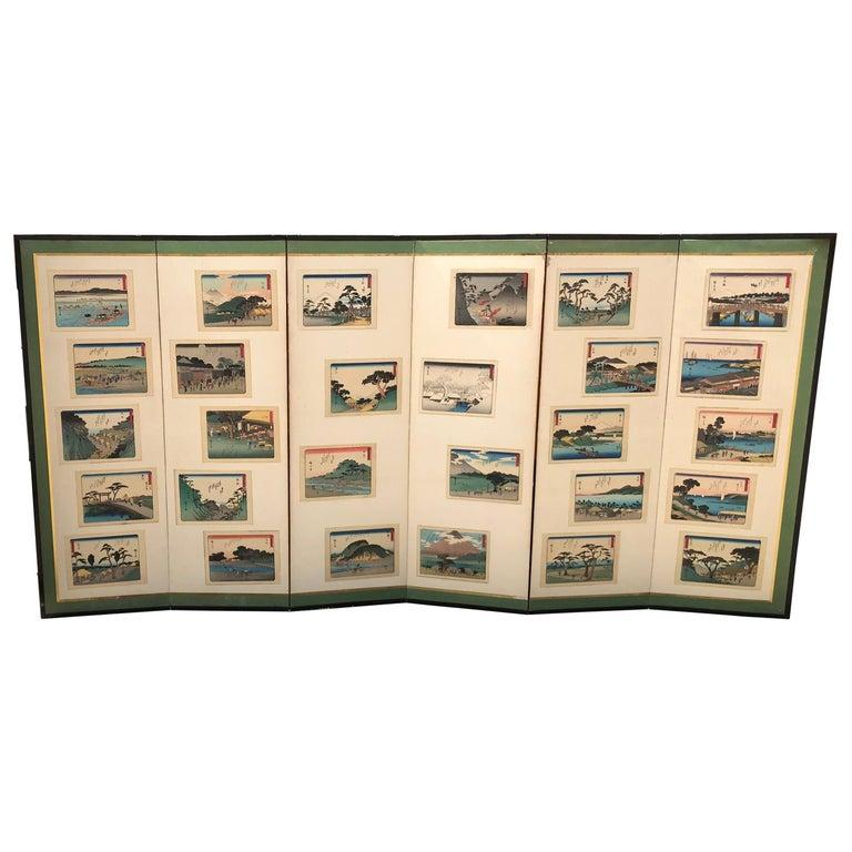 "Japanese Vintage After Hiroshige ""Tokaido Road"" Screen Byobu 28 Prints For Sale"