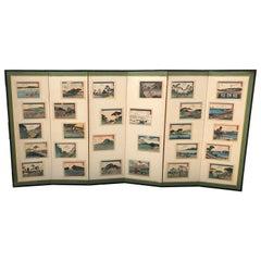 "Japanese Vintage Hiroshige ""Tokaido Road"" Screen Byobu 28 Prints"