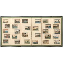 Japanese Vintage Hiroshige Woodblock Print Screen Byobu 28 Prints-Unusual