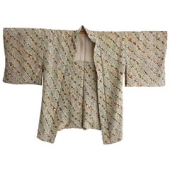 Japanese vintage wheatgrass print all silk handmade kimono