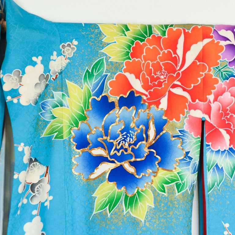 Japanese Vintage Women's Silk Wedding Kimono 'Hiki-furisode' For Sale 1