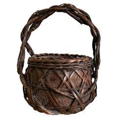 Japanese Wagumi Handled Bamboo Basket Ikebana