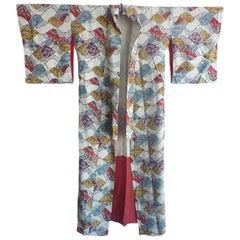 Japanese Wave print vintage silk Kimono