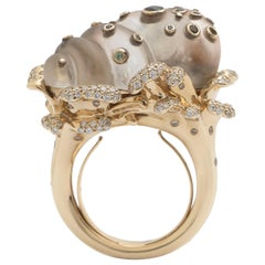 18K White and Rose Gold Diamond Sapphire Mother of Pearl Japanese Cocktail Ring