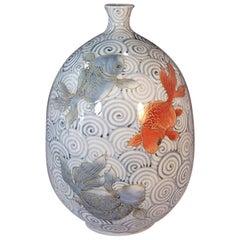 Japanese White Blue Red Gold Porcelain Vase by Contemporary Master Artist