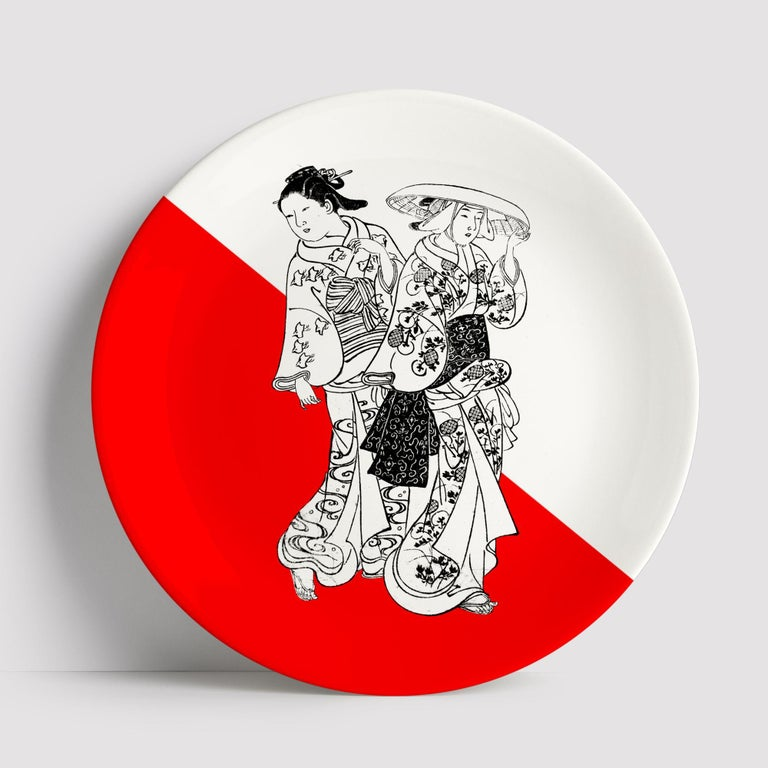 Beautiful Japanese Women porcelain dinner plate by Plus Lab will make an elegant statement with sophisticated Art de la table for every occasion. Made in Italy.  Upon request available in a set of three or six plates.