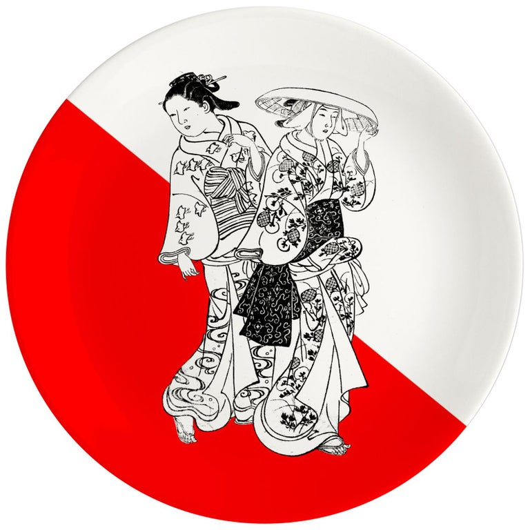 Japanese Women Porcelain Dinner Plate by Plus Lab, Made in Italy For Sale