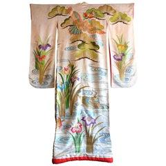 Japanese Women's Silk Bridal Robe, Uchikake, Worn over a Kimono, 1970s
