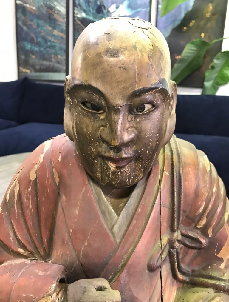 Hand-Carved Japanese Wood Carved Polychrome Sculpture of a Seated Temple Monk, Edo Period For Sale