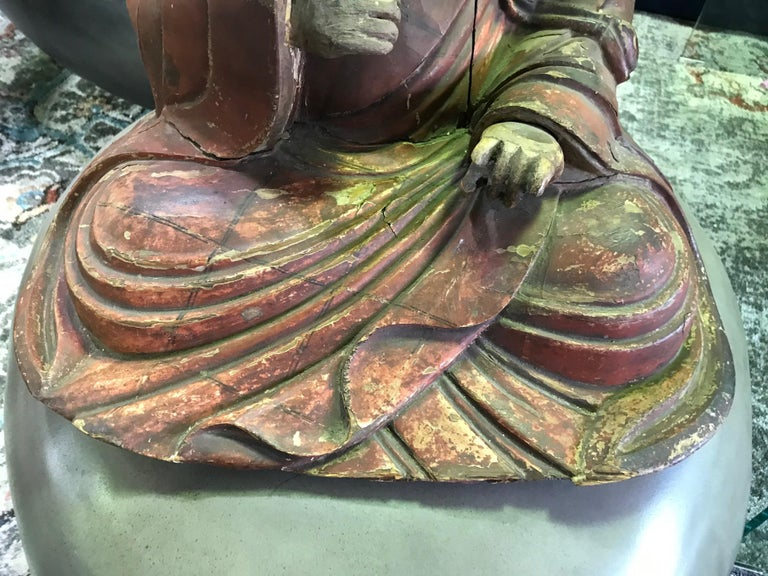 Japanese Wood Carved Polychrome Sculpture of a Seated Temple Monk, Edo Period For Sale 2