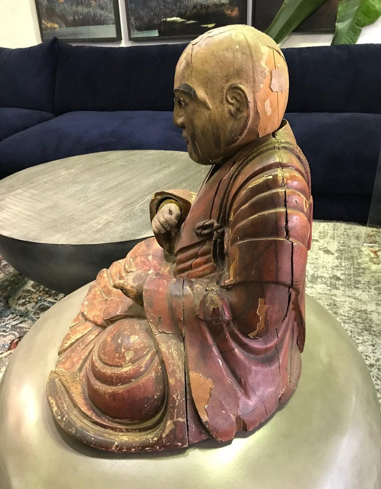 Japanese Wood Carved Polychrome Sculpture of a Seated Temple Monk, Edo Period For Sale 3
