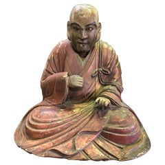 Japanese Wood Carved Polychrome Sculpture of a Seated Temple Monk, Edo Period