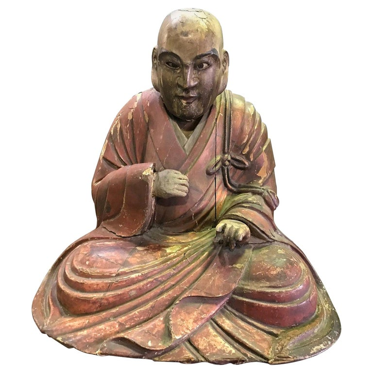 Japanese Wood Carved Polychrome Sculpture of a Seated Temple Monk, Edo Period For Sale