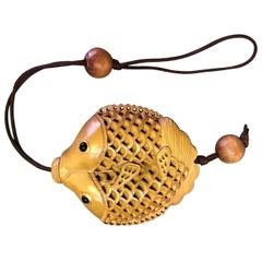 Japanese Wood Carving Koi Double Fish Netsuke or Medicine Box with Black Eyes