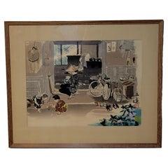 "Japanese Woodblock Print "" Farm Family"" by Sanzo Wada #2"