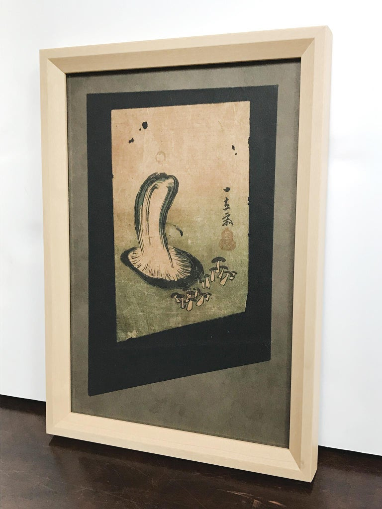 Japanese Woodblock Print of Mushroom Study, Fragment In Good Condition For Sale In New York, NY