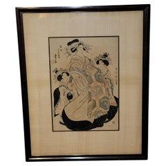 """Japanese Woodblock Print """" Three Geishas"""" Kikukawa Eizan (菊川英山) #2"""