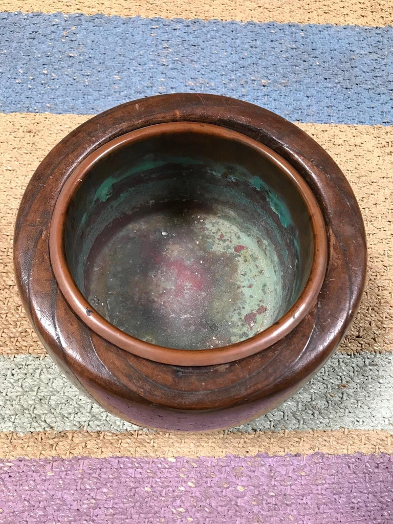Anglo-Japanese Japanese Wooden and Gilt Lacquer Bowl Lined in Copper For Sale