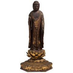 Japanese Wooden Buddhist Sculpture of Amida Nyorai, 16th Century