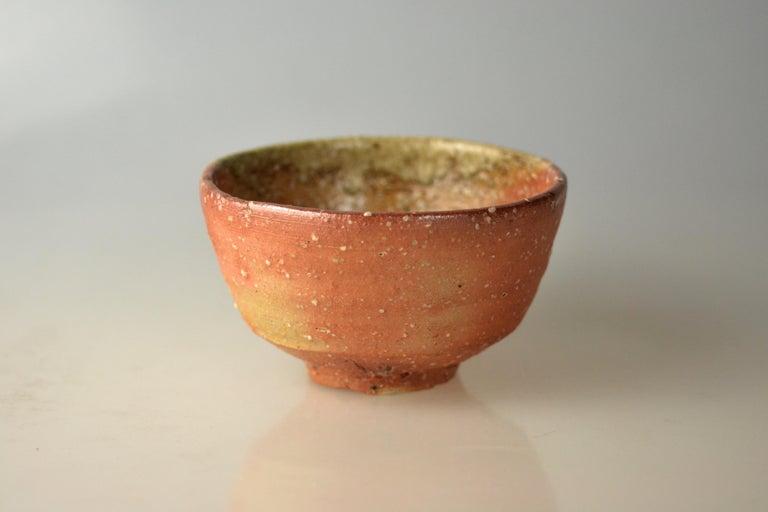Fired Japanese Woodfired Handmade Matcha Tea Bowl by Takahashi Rakusai IV For Sale