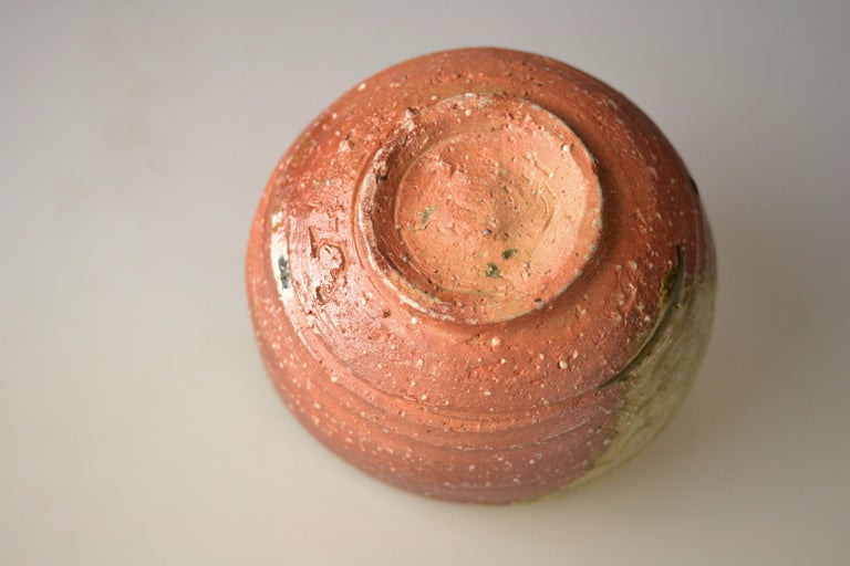 Late 20th Century Japanese Woodfired Handmade Matcha Tea Bowl by Takahashi Rakusai IV For Sale