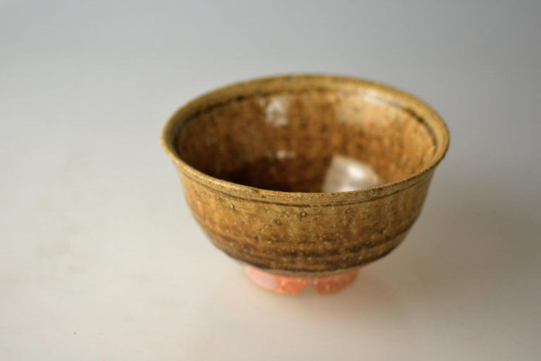 Japanese Woodfired Handmade Matcha Tea Bowl by Takahashi Rakusai IV For Sale 1