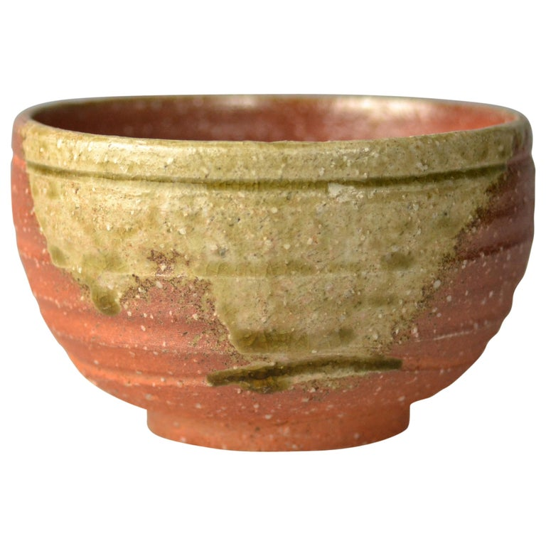 Japanese Woodfired Handmade Matcha Tea Bowl by Takahashi Rakusai IV For Sale