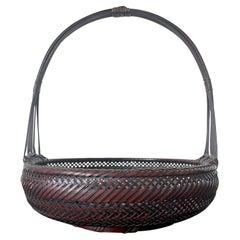 Japanese Woven Bamboo Ikebana Basket