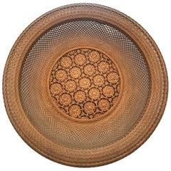 Japanese Woven Basket Bamboo Art Signed Chikusen